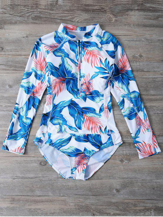 women's Zip Leaf Print Long Sleeve One Piece Swimsuit - WHITE 2XL