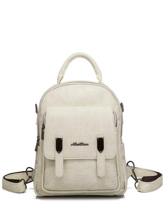 e6eb808c9c 2018 Pocket Faux Leather Double Zipper Backpack In OFF-WHITE