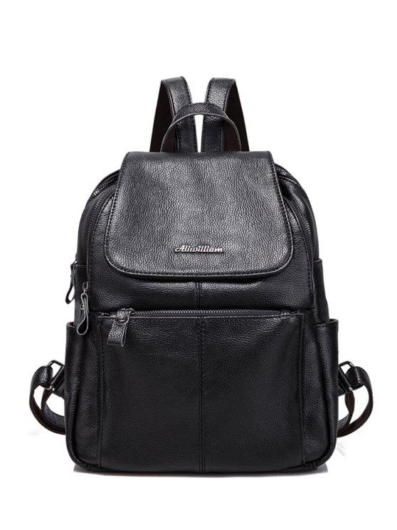 shop Faux Leather Zippers Pockets Backpack - BLACK