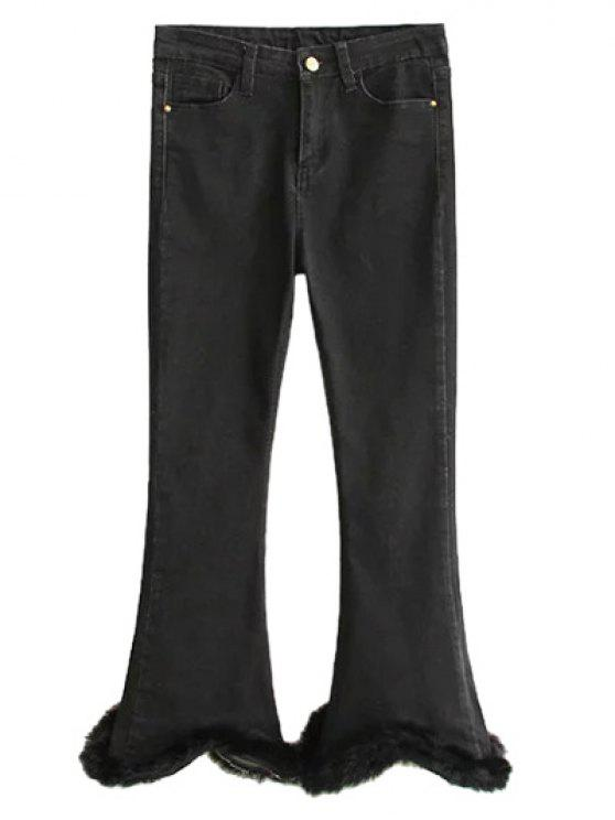 trendy Ninth Fuzzy Flare Jeans - BLACK XL