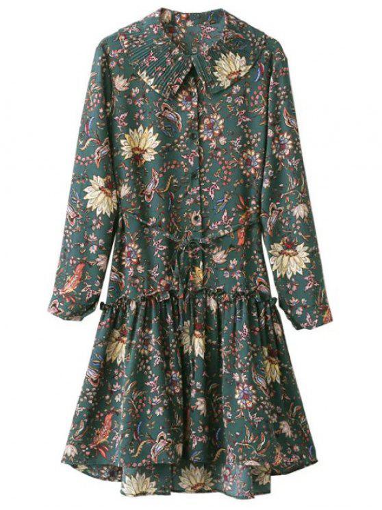 Vestido Manga Larga Volantes Floral Estilo Vintage - Verde Única Talla
