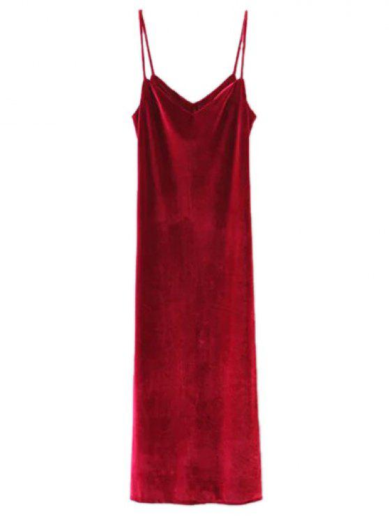 Vestido Casual Largo Maxi Terciopelo Tiras Delgadas - Vino Rojo M