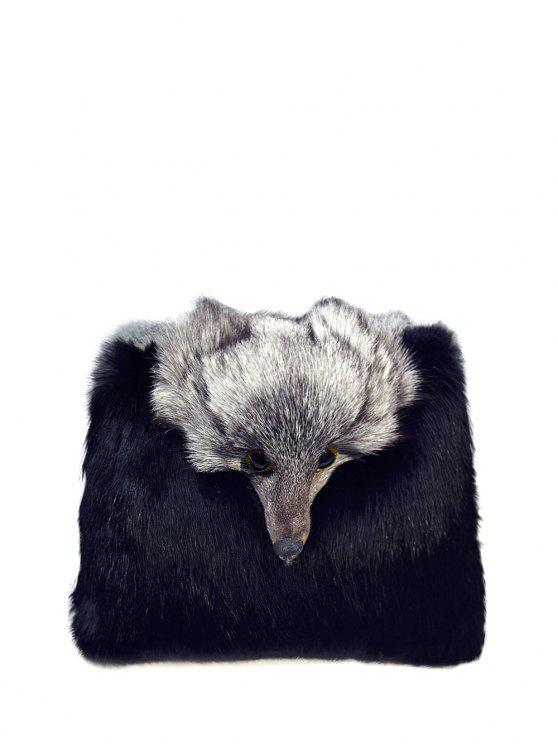 unique Fox Faux Fur Crossbody Bag - BLACK