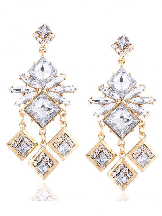 chic Rhinestone Square Dangle Earrings - CHAMPAGNE