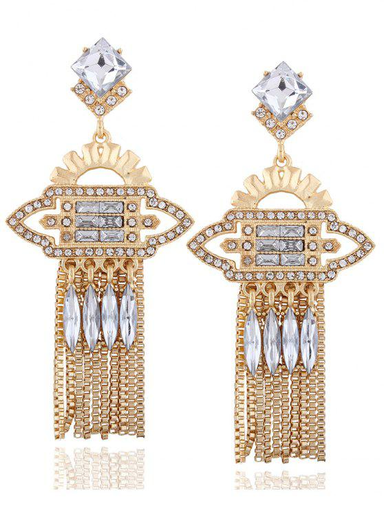affordable Geometric Water Drop Rhinestone Earrings - CHAMPAGNE