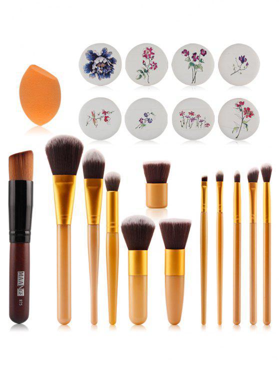 Set 12 Piezas Cepillos Maquillaje + Cojines De Aire Impresión Floral + Mezclador De Belleza - Amarillo
