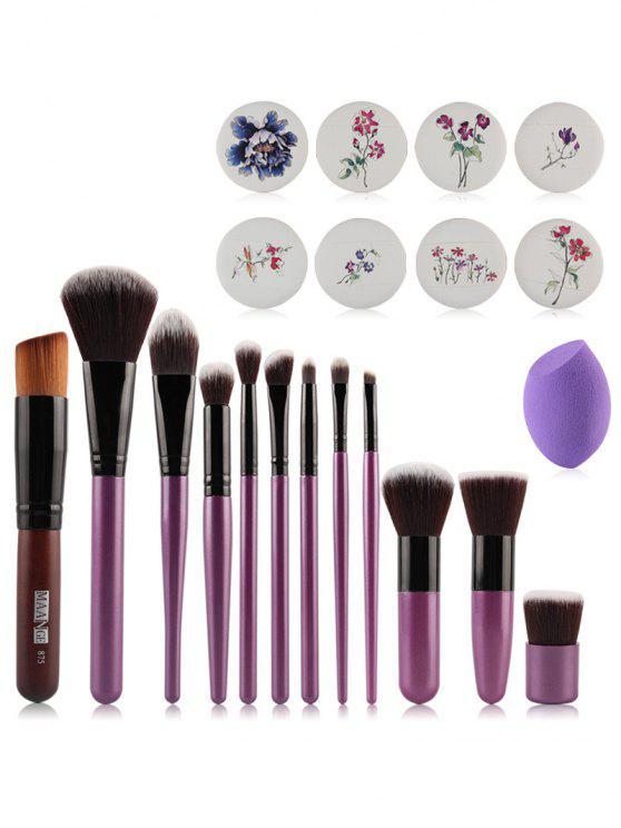 Set 12 Piezas Cepillos Maquillaje + Cojines De Aire Impresión Floral + Mezclador De Belleza - Púrpura