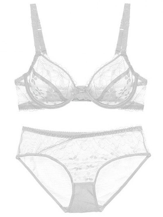 buy Low Cut Sheer Floral Lace Bra Set - WHITE 85C