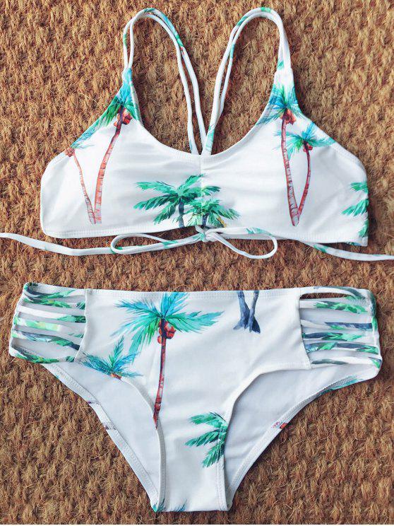 Bikini Tiras Estampado Palma De Coco - Blanco S