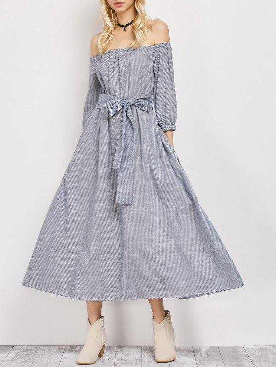 unique Belted Off The Shoulder Midi Dress - STRIPE L