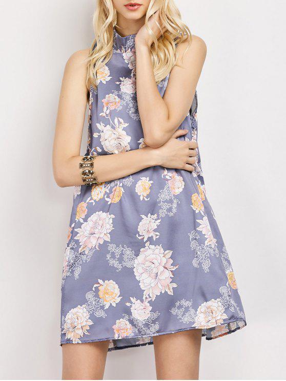Robe trapèze imprimée de fleurs à col montant sans manche - Floral M