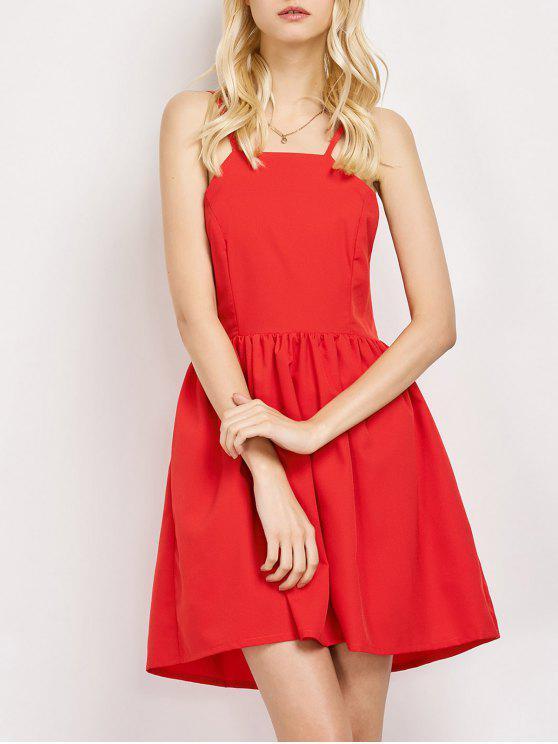 Puffball Backless Prom Dress - Vermelho L