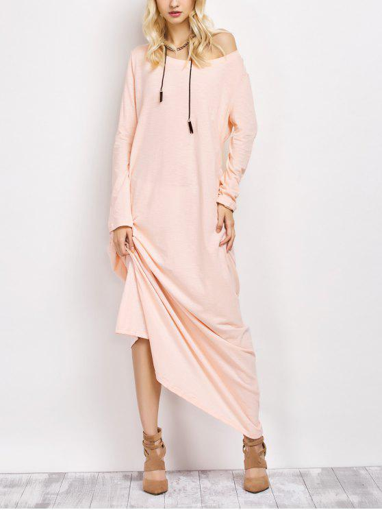 966f61366d 30% OFF  2019 Skew Neck Long Sleeve Loose Maxi Dress In LIGHT ...
