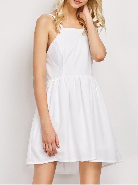 البوهيمي عارية الذراعين فستان حفلة موسيقية - أبيض L