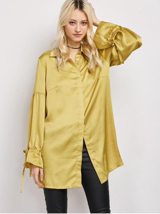 trendy Lantern Sleeve Long Vintage Shirt - CELADON L
