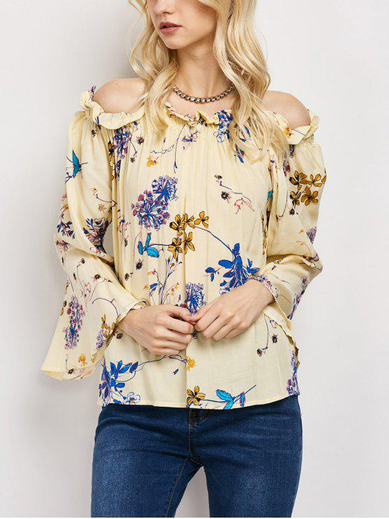 new Off The Shoulder Flare Sleeve Floral Blouse - YELLOW M