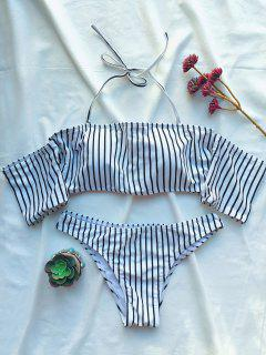 Off The Shoulder Strappy Striped Bikini Set - White M