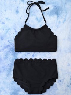 High Rise Halter Scalloped Bathing Suit - Black Xl