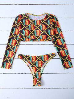 Padded Cropped Rashguard Bathing Suit - Multicolor L