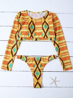 Bikini Top Crop à Manches Longues Motifs Losange - Multicouleur L