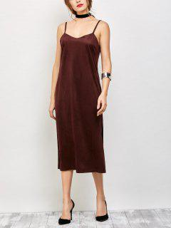 Faux Suede Slip Dress - Burgundy S