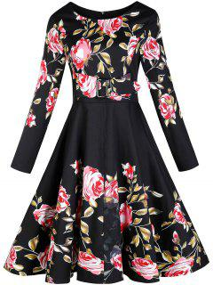 Vintage Floral Long Sleeve A Line Dress - Black 2xl