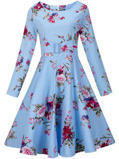 Vintage Floral Long Sleeve A Line Dress - Blue 2xl