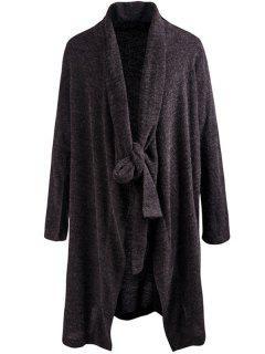 Shawl Collar Tied Cardigan - Gray