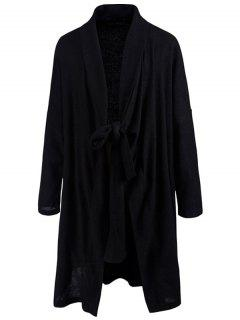 Shawl Collar Tied Cardigan - Black