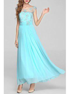 Beaded Sheer Backless Maxi Cocktail Prom Dress - Ice Blue L
