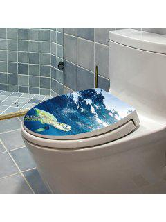 Bathroom Decor Sea Turtle Toilet Cover Wall Stickers - Ocean Blue
