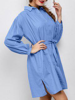 Robe Chemise Fendue Sur Les Côtés  Avec Noeud Et Manches Longues - Bleu M