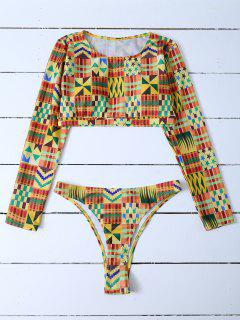 Cropped High Cut Rashguard Bikini Set - Multicolor S
