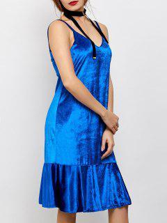 Terciopelo De Volantes Vestido A Media Pierna - Azul L