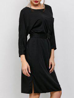 Robe Trapèze Avec Manches Longues Et Ceinture Fendue Sur Les Côtés - Noir