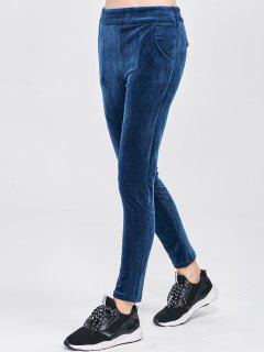 Pantalon En Velours Avec Poches - Bleu M