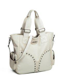 Studded Faux Leather Double Pocket Tote Bag - Off-white