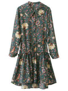 Vestido Manga Larga Volantes Floral Estilo Vintage - Verde
