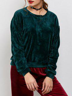 Drop Shoulder Oversized Velvet Sweatshirt - Blackish Green