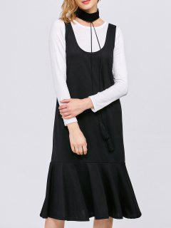 Long Sleeve T-Shirt With Tank Dress - White And Black S