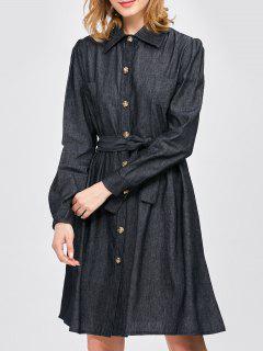 Camisa De Vestir Con Cinturón Jean - Negro S