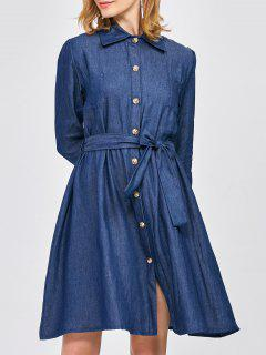 Belted Jean Shirt Dress - Blue S