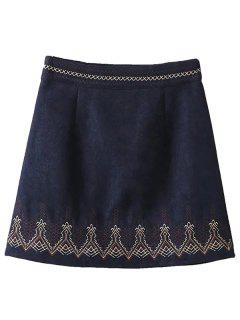 Embroidered Corduroy Skirt - Cadetblue S