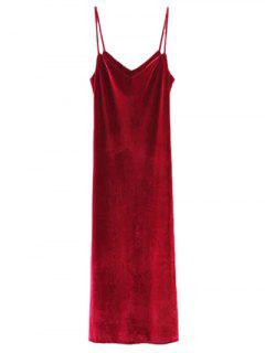 Casual Velvet Maxi Slip Dress - Wine Red M