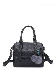 Pompon Straps Faux Leather Handbag - Black