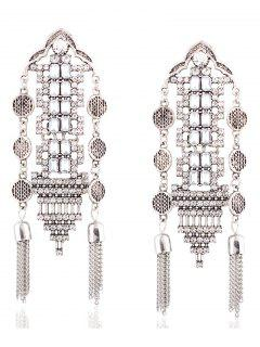 Chain Tassel Rhinestone Hollow Out Earrings - Silver