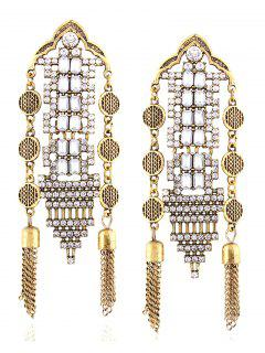 Chain Tassel Rhinestone Hollow Out Earrings - Golden