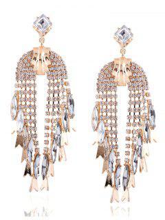 Rhinestoned Water Drop Dangle Earrings - Champagne