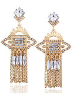 Geometric Water Drop Rhinestone Earrings - Champagne