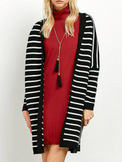 Striped Longline Open Cardigan - White And Black